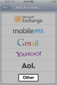 Wybierz typ swojego konta e-mail. Aby skonfigurować pocztę do pracy z Web Solutions, wybierz opcję Inne.