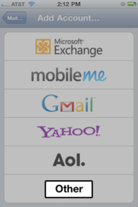 Choose your email account type. For setting up email to work with web-solutions  mail, choose Other.