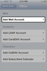 Wybierz Dodaj konto pocztowe w sekcji Poczta.