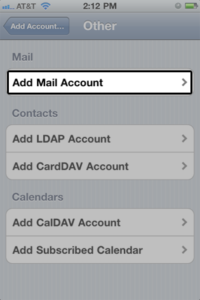 Select Add Mail Account under the Mail section.