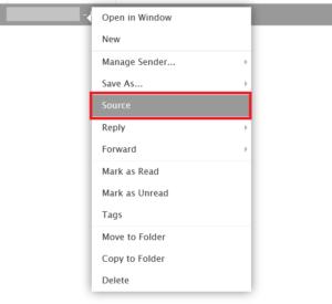 Kliknij prawym przyciskiem myszy na wiadomości.