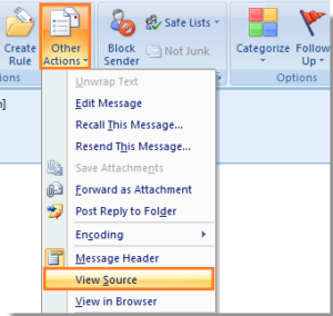 "In the ""Message"" window, please click ""Other Actions"" → ""View Source"""