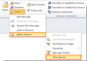 "In the ""Message tab"" click ""Actions"" → ""Other Actions"" → ""View Source""."