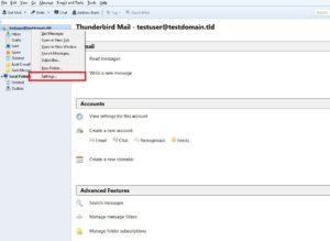 Wybierz swoje konto e-mail i wybierz ustawienia