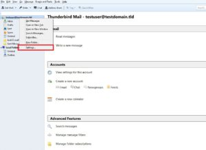 Select Your e-mail account and choose settings