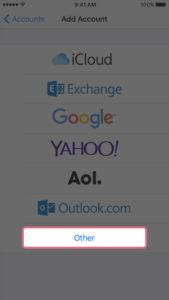 Wybierz typ swojego konta e-mail. Aby skonfigurować pocztę do pracy z EuropeID, wybierz opcję Inne.