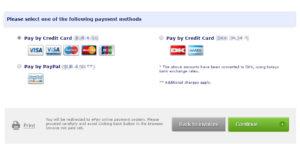 Wybierz płatność za pomocą karty kredytowej i naciśnij Kontynuuj